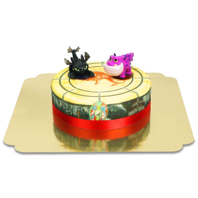 Drache Ohnezahn und seine Freunde auf einstöckiger Torte