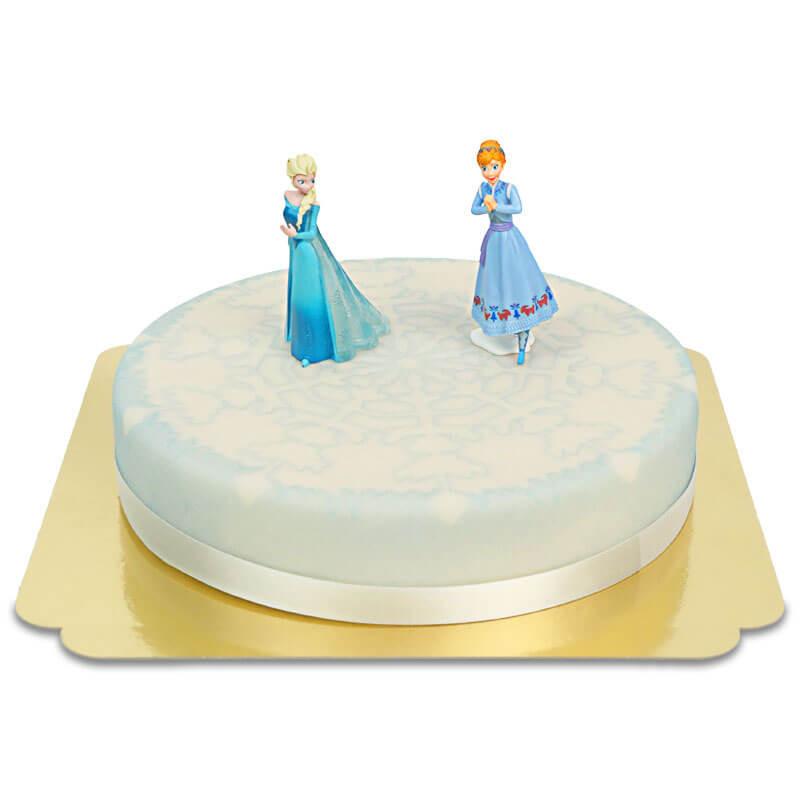 Anna und Elsa von Eiskönigin auf Eis-Torte