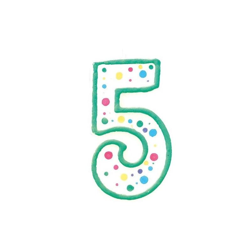 Zielona świeczka z cyfrą 5, ok. 7,5 cm