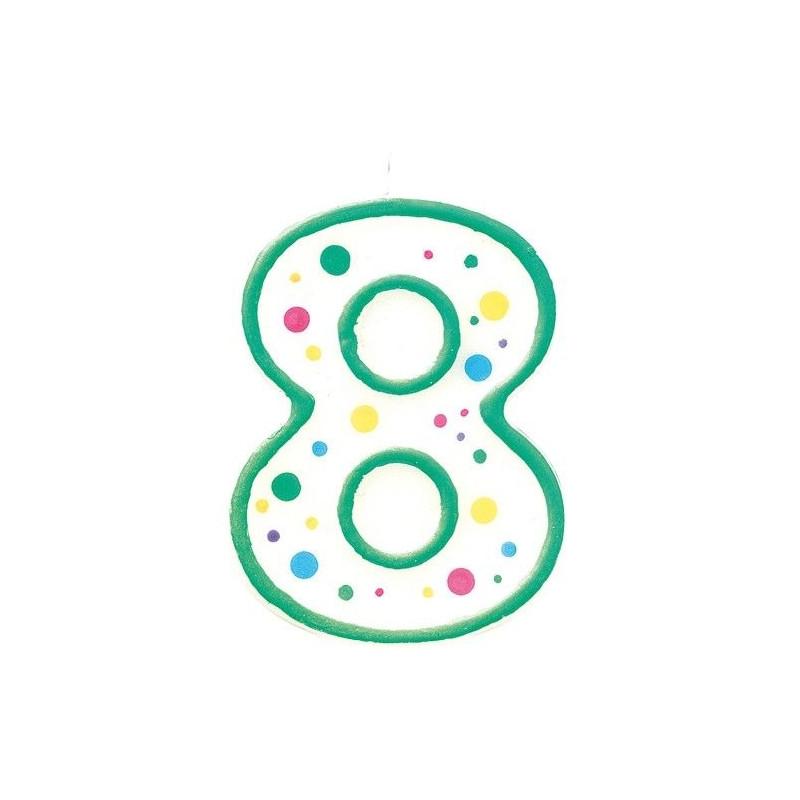 Zielona świeczka z cyfrą 8, ok. 7,5 cm