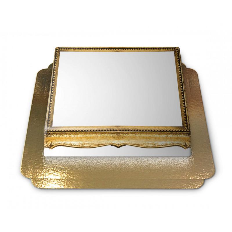 Tort ze zdjęciem - złota,drewniana ramka