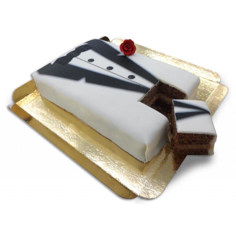 Tort Pana Młodego - biało-czarny smoking