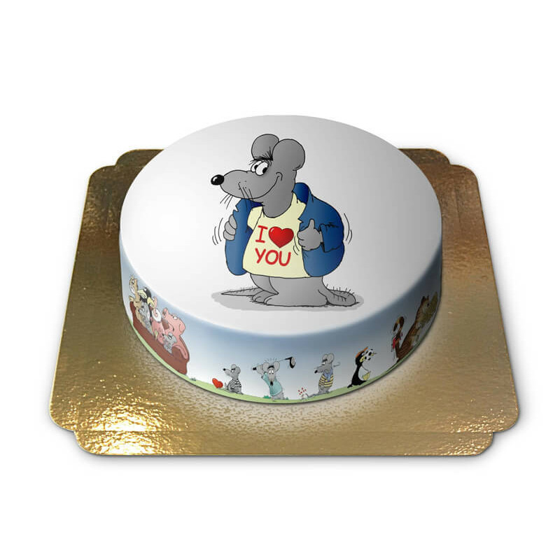 I love you T-Shirt Maus auf Torte