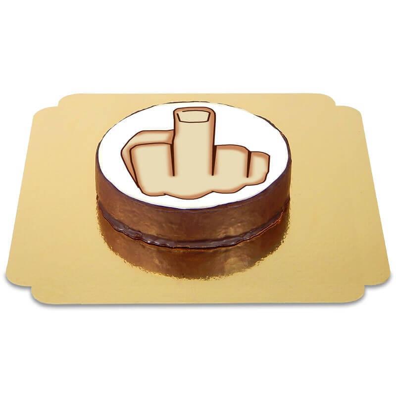 Tort czekoladowy z emotikonką - środkowy palec