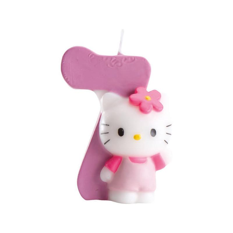 Hello Kitty Tortenkerze mit Zahl 7