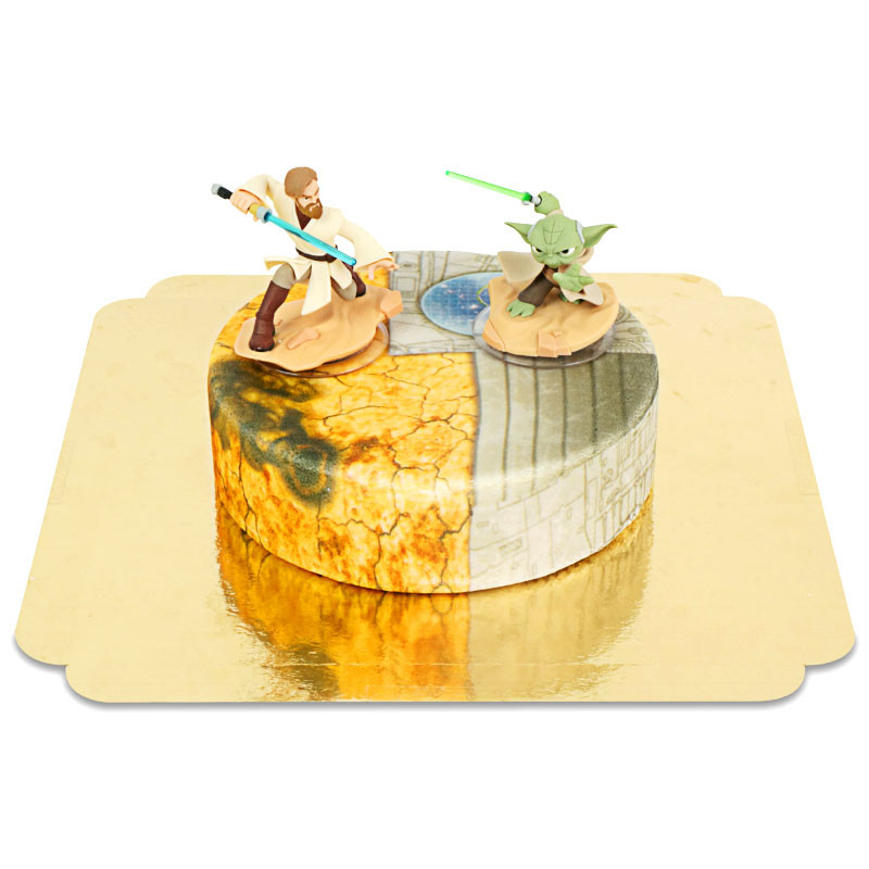 Obi-Wan Kenobi & Meister Yoda kämpfend auf Clone Wars Torte