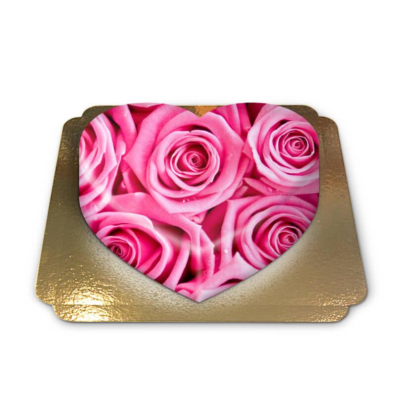 Pinke Rosen-Torte in Herzform