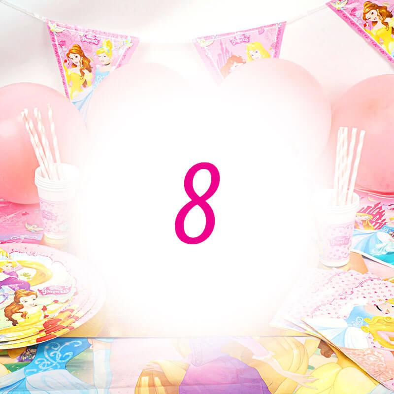 Partyset Prinzessinnen für 8 Kinder - nur Deko, ohne Torte