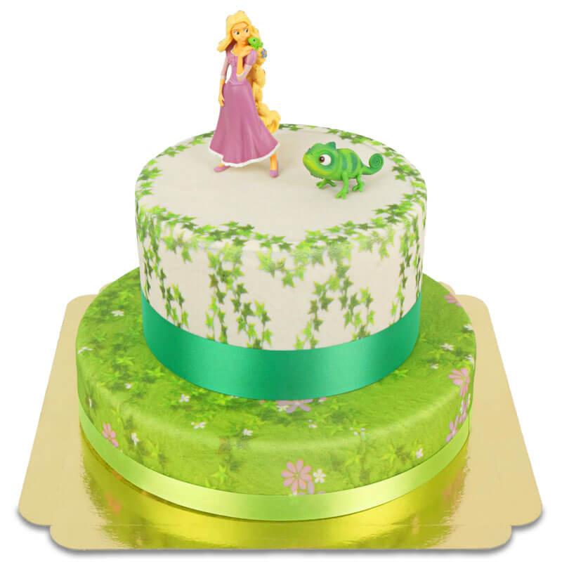 Rapunzel und Pascal auf 2-stöckiger Turm-Torte mit Bänder
