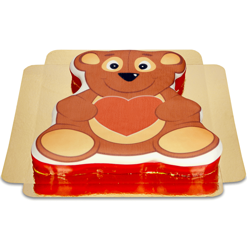 Tort w kształcie misia - z sercem