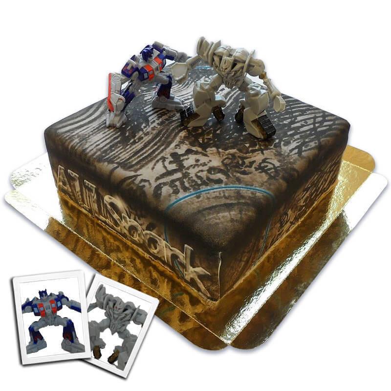 Transformers-Figuren Optimus Prime vs Megatron auf AllSpark-Torte