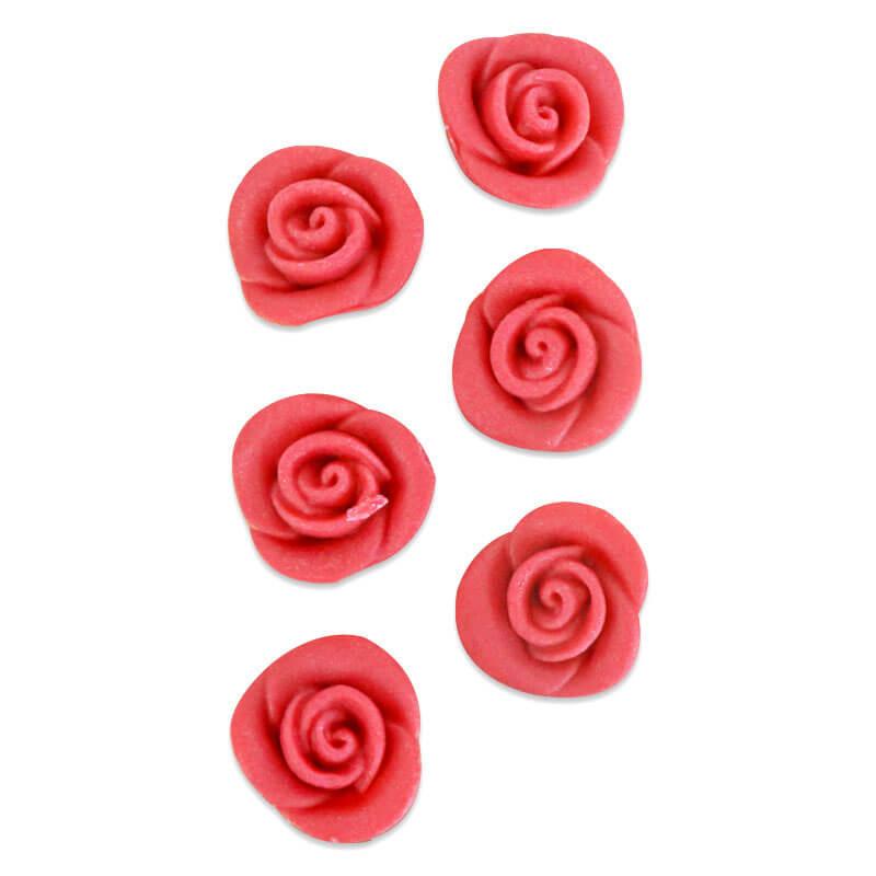Marzipan Rosen Rot, ca. 25 mm (6er Set)