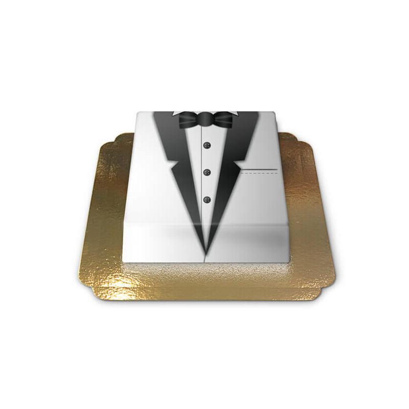 Bräutigam schwarz-weisser Blazer Torte