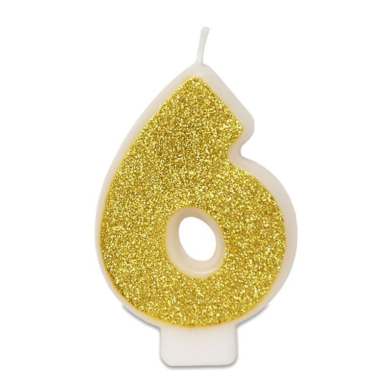 Złota świeczka z cyfrą 6