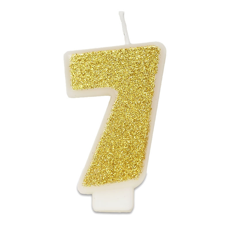 Złota świeczka z cyfrą 7